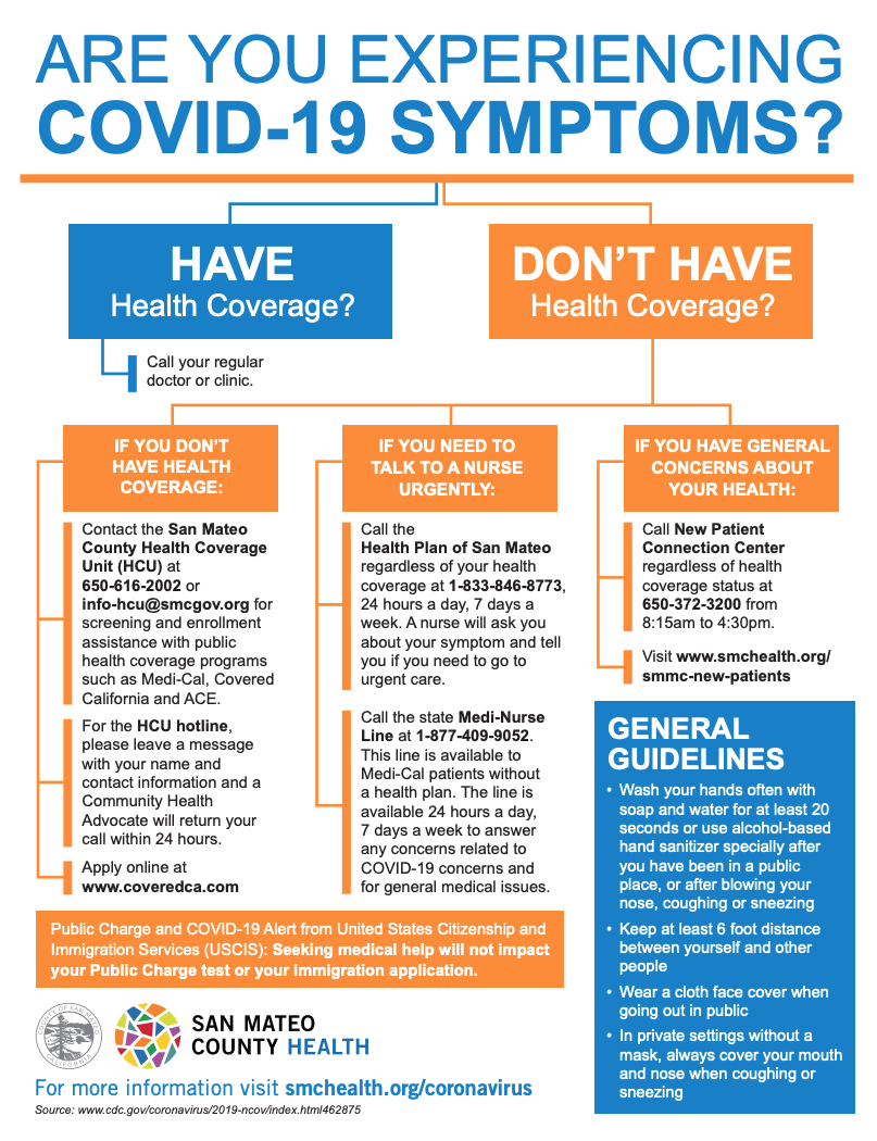 If You Have Symptoms Of Covid 19 But Don T Have Health Insurance San Mateo County Health