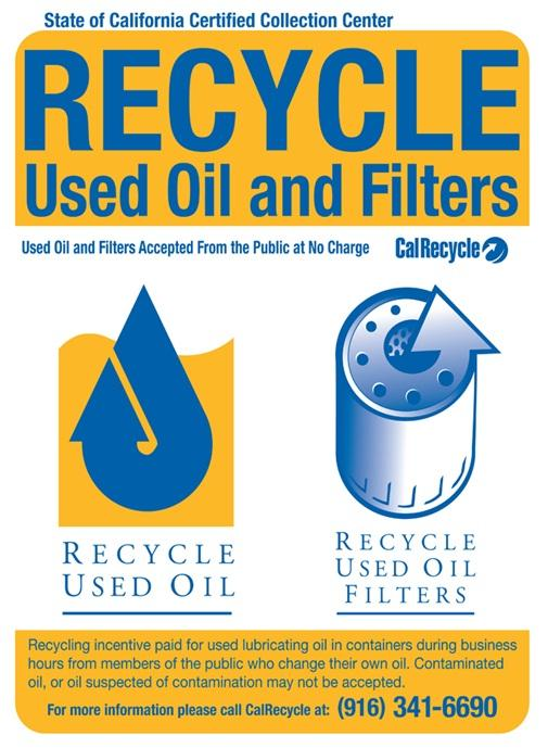Used motor oil and filter recycling locations san mateo for Used motor oil pickup