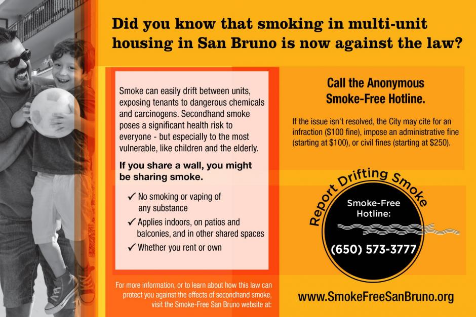 Call the Anonyous Smoke-Free Hotline @ (650) 573-3777 to report drifting smoke.